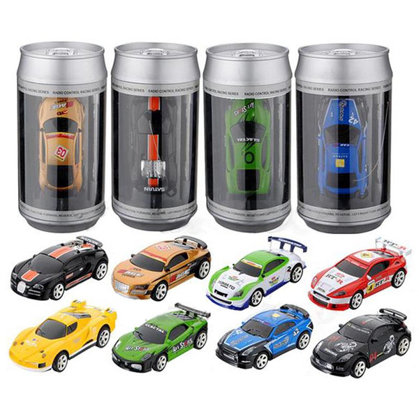 20KM/H Coke Can Mini RC Car 1:58 Radio Remote Control Vehicles Micro Racing Car 4 Frequencies Toy For Children Kids Box packages Vehicles