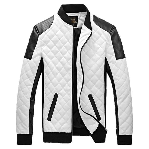 2018 Novo Design Mens Jaquetas WinterAutumn PU Casacos De Couro Masculino PretoBranco Moda Magro Xadrez Jaqueta