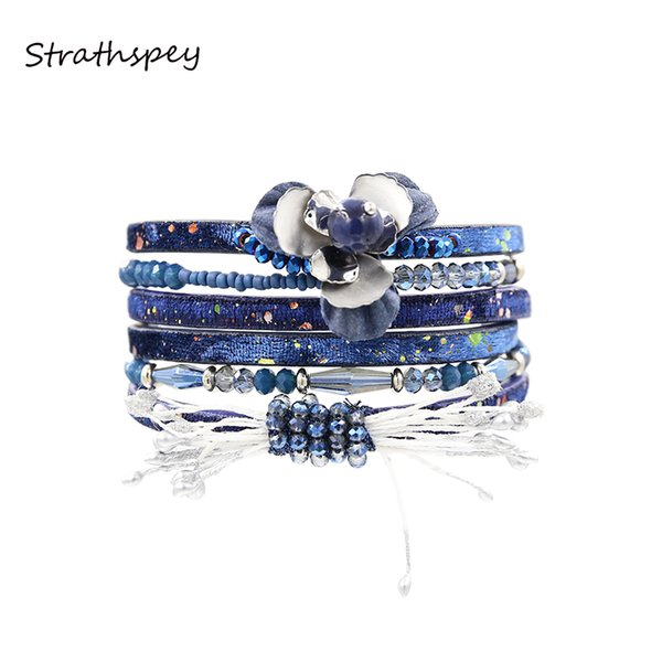STRATHSPEY Bracelet Fashion Elegant Women Multi Rows Petal Flower PU Lather Wrap Bracelet & Bangle Black Dark Blue Red Brown