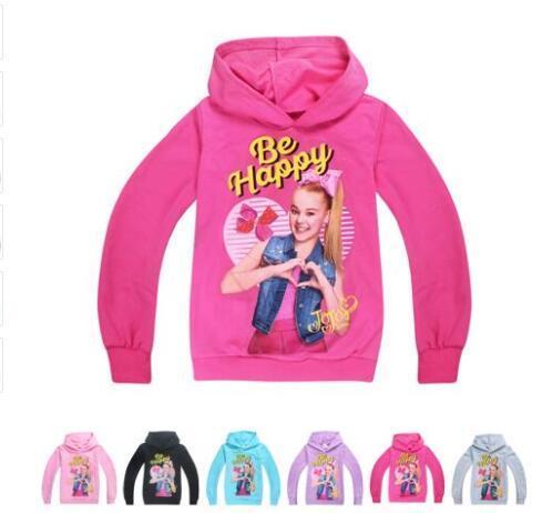 top popular 4-12Y Baby Girl Hoodies Jojo Siwa Girls Hooded Hoodies Casual Cartoon SweatShirts Tops Casual Clothes 12 Designs KKA5613 2021