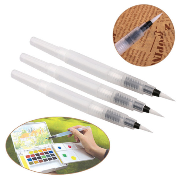 3pcs/set Refillable water color pen Paint brush Set Ink Pen For Paint Calligraphy Watercolor