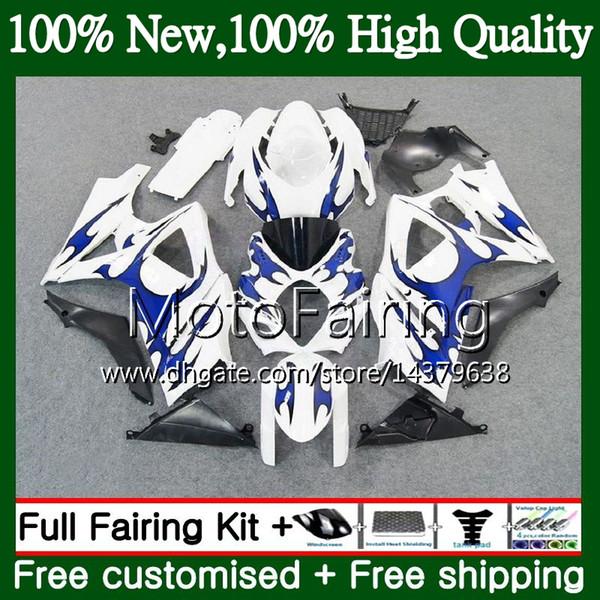 Body For SUZUKI GSXR-1000 K7 Blue flames GSX-R1000 GSXR 1000 07 08 31MF19 GSXR1000 07 08 Bodywork GSX R1000 2007 2008 Fairing Bodywork