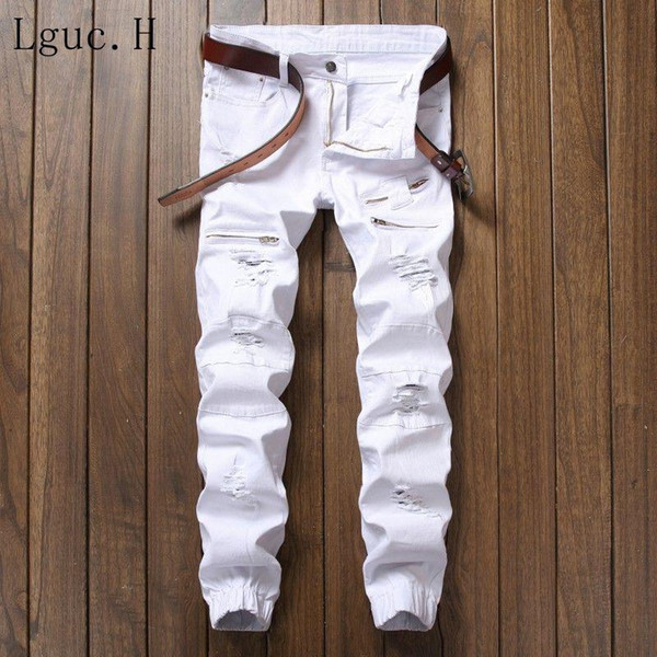 Lguc.H New White Ripped Jeans Men with Holes Skinny Famous Designer Brand Slim Fit Destroyed Torn Jean Pants Mens Jeans 30 32 33