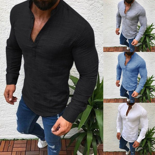 Stylish Men Slim shirt Muscle Fit V Neck Long Sleeve Muscle Tee T-shirt Casual Tops Blouse