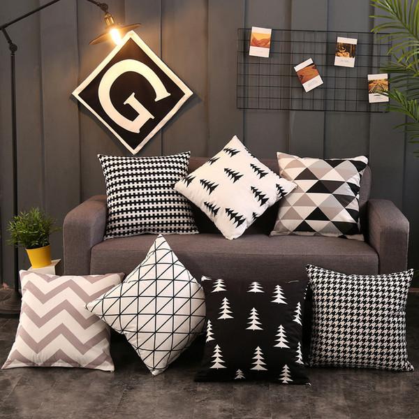 Nero Bianco Tiro Pillow Case Semplice Geometrica In Cotone E Lino Divano Breve Peluche Lombare Occipitale Cuscino Home Decor 6xn bb