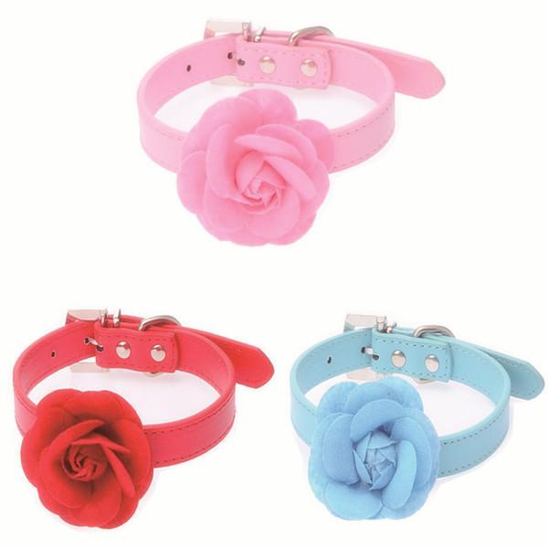 Fashion Rose Flower Sweet pet collar Buckle PU Leather Necklack perro mascota Doggie Collar