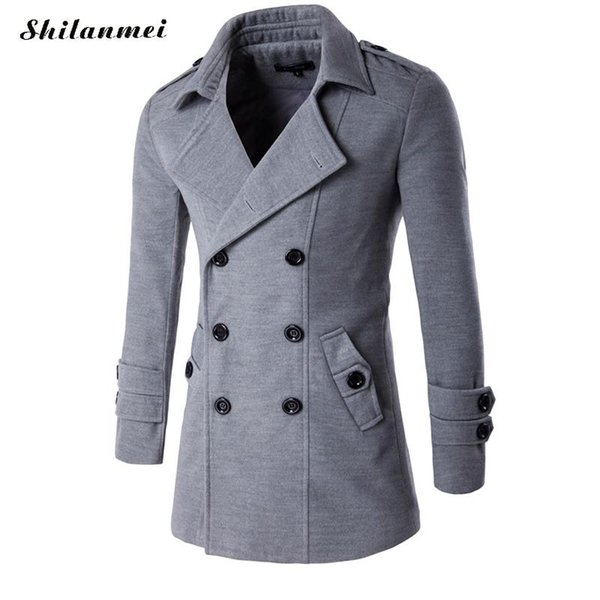 trench coat men mens overcoat double boutonnage manteau hommes men winter trench coat m to xxl manteau homme black gray warmcoat