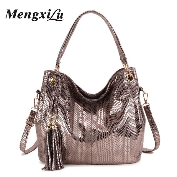 Tassel Women Bag Luxury Handbags Designer Serpentine Women Shoulder Bag Large Capacity Female Pu Leather Big Ladies Handbags