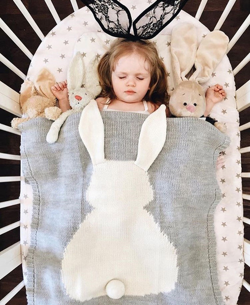 new 6 Colors 105*75cm Baby Blankets INS Rabbit Ear Swaddling Knitted Animal Bedding Toddler Fashion Swaddle Newborn Bunny Blanket 20pc wn397