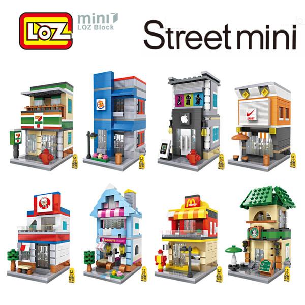 LOZ Mini City Street View Scène Mini Building Blocks Café Magasin de détail Architectures Modèles Jouet de construction