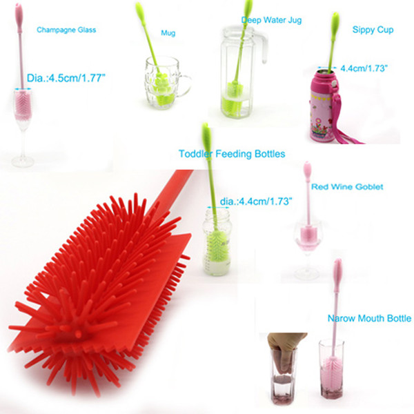 Silicone Bottle Cleaning Brush - Best for Cleaning Baby Bottles, Long or Narrow Necked Bottles,Thermos,Vases and Tumblers- Non-Scratch