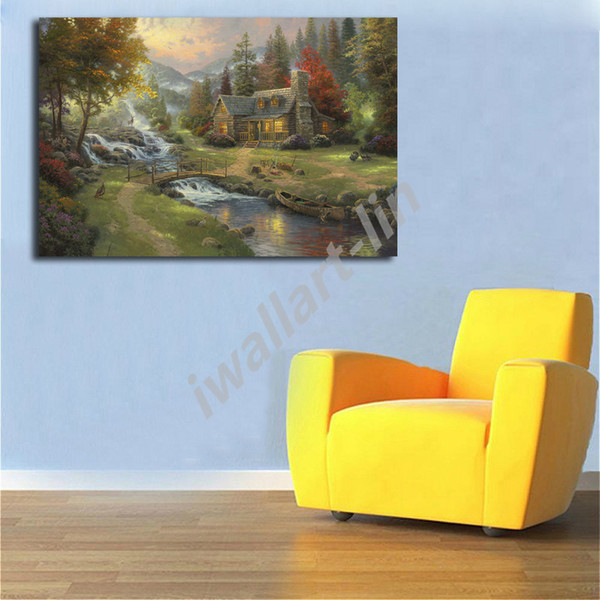 Thomas Kinkade Mountain Paradise Poster Canvas Painting Oil Framed Wall Art Print Pictures For Living Room Home Decoracion