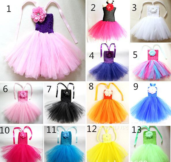 "Cute Baby Tutu Dresses Infant Toddler Girls Crochet Ballet Tutus Straps Dress with 4"" Peony Flower Kids Corset Tulle Dress 10Pcs"