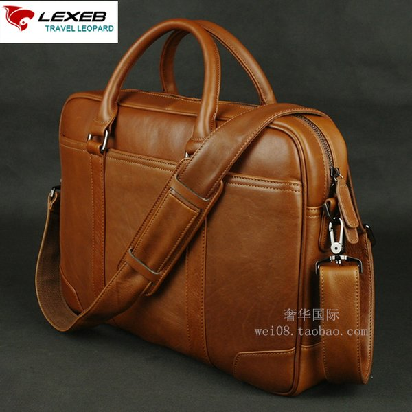 LEXEB Solid Brown Leather Men's Briefcase For 15 Inches Laptop Classic Office Bags For Men 42cm Length High Quality Hot Selling