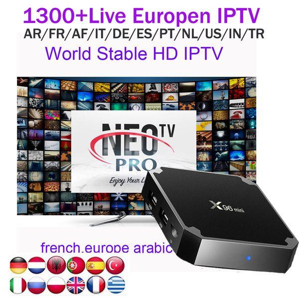 x96mini 1G mit NEOTV 1Jahre Europäisch Arabisch IPTV Konto-Abonnement Euro Französisch Deutschland Türkisch Afrika Live-Kanäle für Android 7.1 Box