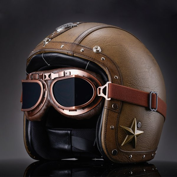 Adults Handmade PU Leather Retro Open Face Motorcycle Helmets ABS Vintage Halley Half Face Helmets With Free Goggle Dot Approved