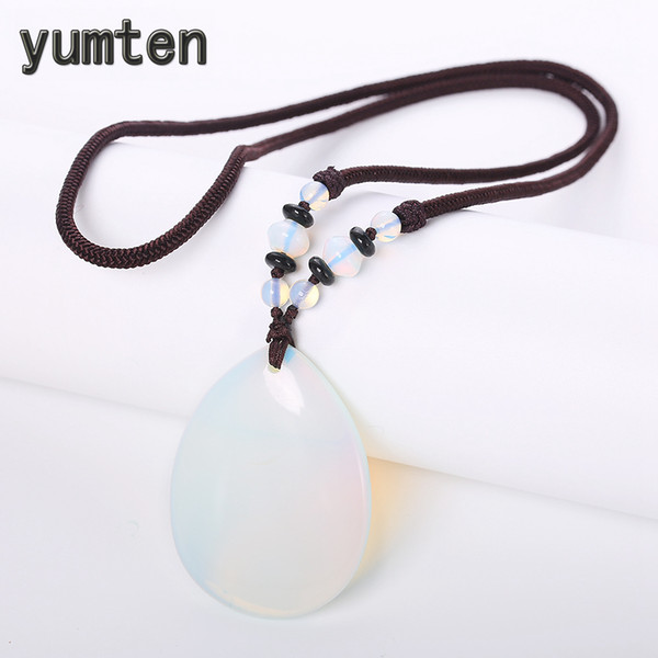 Yumten Natural Opal Necklace White Crystal Pendant Gothic Women Power Jewellery Anniversary Accessories Water Drop Rope Chain