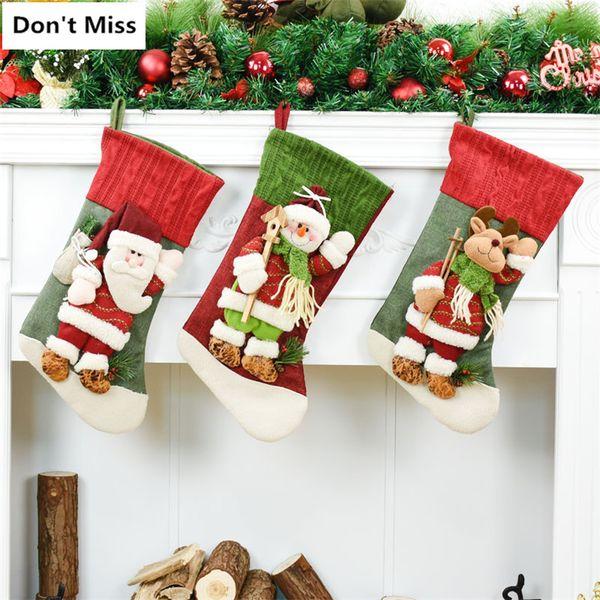Birthday Party Decoration 3pcs/lot Santa Claus+Snowman+Elk Christmas Candy Gift Bag Christmas Stockings Xmas Tree Decor Ornament