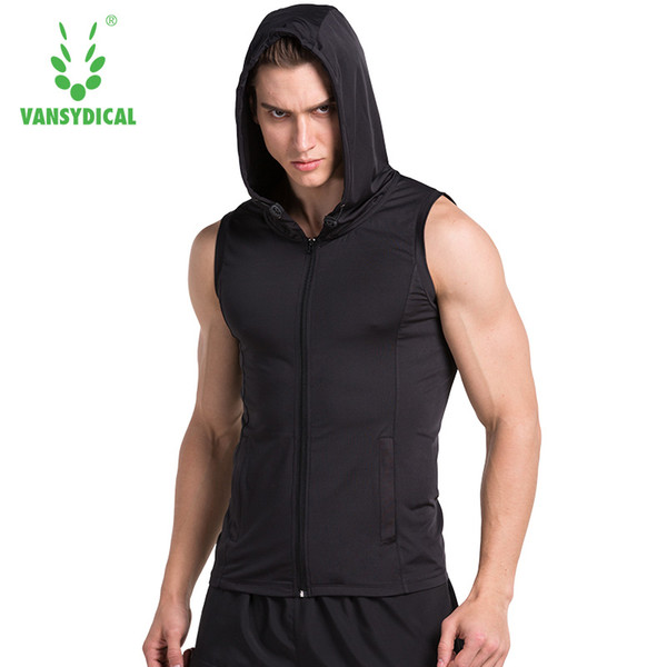 2017 Running Vest Zipper Hoodie Tank Sleeveless T-shirts For Men Sweatshirts Fitness Clothes Bodybuilding Tops