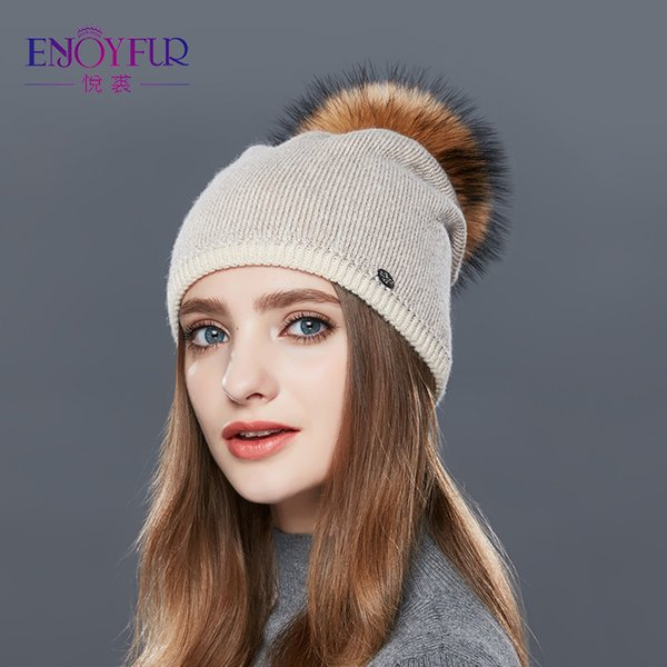 ENJOYFUR Real Raccoon Fur Pompom Hats For Women Thick Gravity Falls Cap Wool Knitted Caps girl Autumn Winter Beanies Female Hat