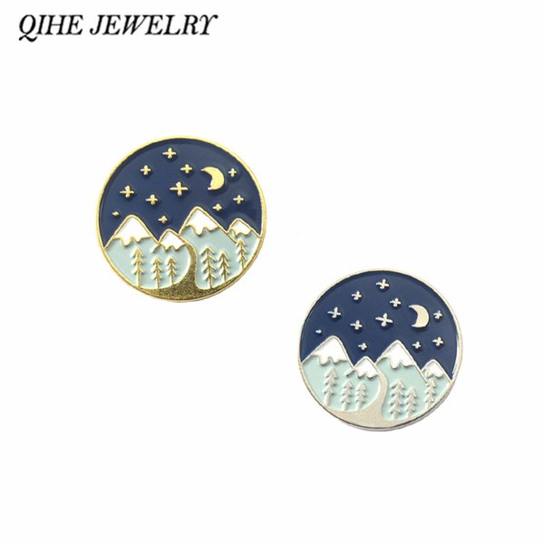 QIHE JEWELRY Moountain Adventure pin Moon and star Forest Travel Explore Brooches Badges Enamel pins Gift for Hikers