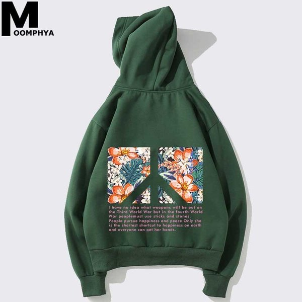 Streetwear Printed floral mens hoodies Letter Anti-war peace printing hooded sweatshirts men Harajuku pullover hoodies men