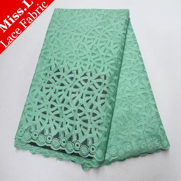 Miss L Aqua Marine French Net Lace Fabric with Stones Net Cloth Designs 2018 Beaded Lace Fabric Embroidered African Lace Fabric