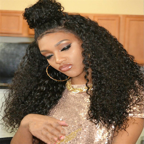 Kinky Curly Full Lace Wig With Baby Hair Brazilian Virgin Lace Front Human Hair Wigs For Black Women With Natural Hairline