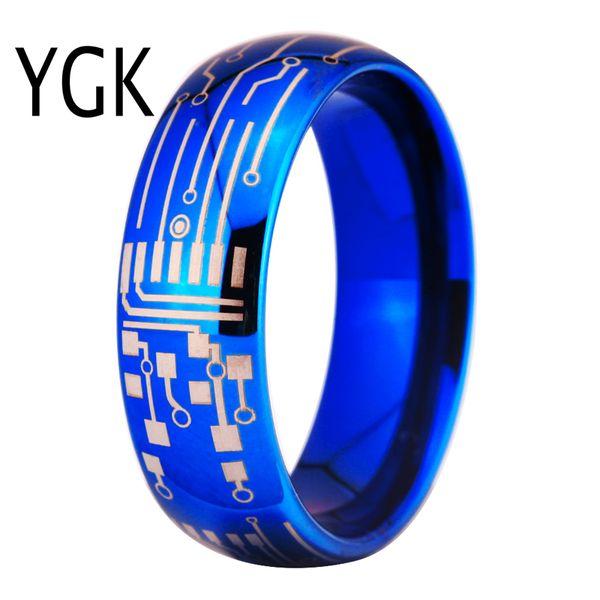 2019 ygk jewelry 8mm shiny blue dome circuit board design rings forygk jewelry 8mm shiny blue dome circuit board design rings for women new fashion ring men