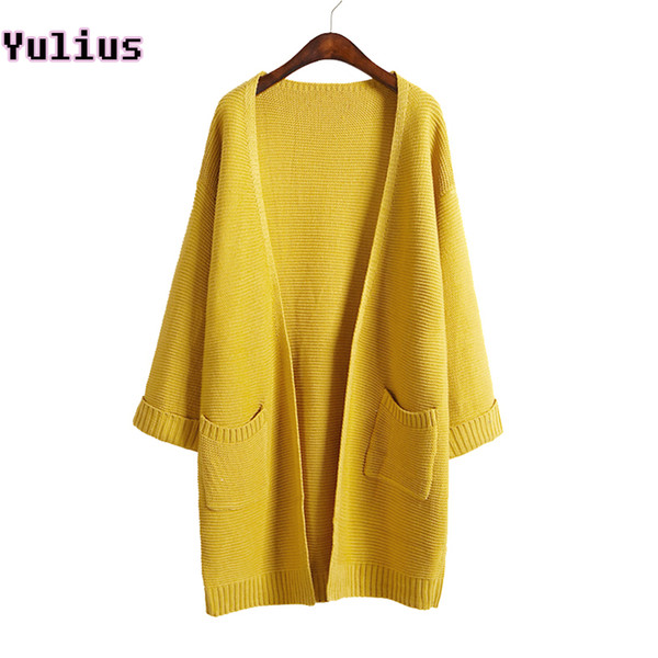 Wholesale-2017 ulzzang Girl Casual Long Knitted Cardigan Autumn Korean Women Loose Solid Color Pocket Design Sweater Jacket Pink Beige