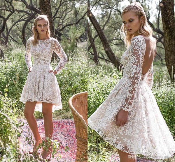 2018 Hi Lo Lace Wedding Dresses Sexy A-Line Open Back Sheer Long Sleeve Short Country Bridal Wedding Gowns with Pocket Custom Robe De Mariée