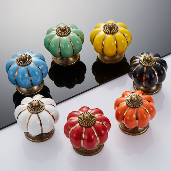 top popular Vintage Furniture Handle Pumpkin Ceramic Door Knobs Cabinet Knobs and Handles for Furniture Drawer Cupboard Kitchen Pull Handle 2021