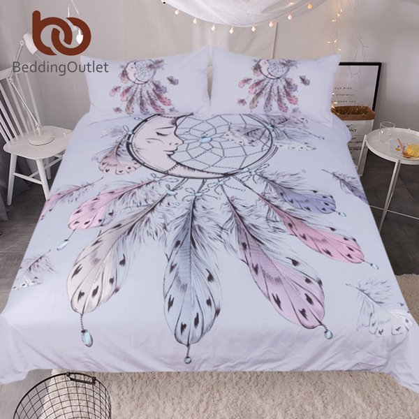 BeddingOutlet Moon Dreamcatcher Bedding Set Queen Size Feathers Duvet Cover  White Bed Set Beautiful Bedclothes Gray Twin Comforter Duvet Covers ...