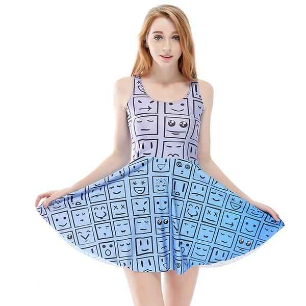 Women Billowing Dress Cartoon Emoji Ombre 3D Print Girl Stretchy Casual Pleated Parasol Dresses Lady Sleeveless Digital Skirt (RLSkd1197)