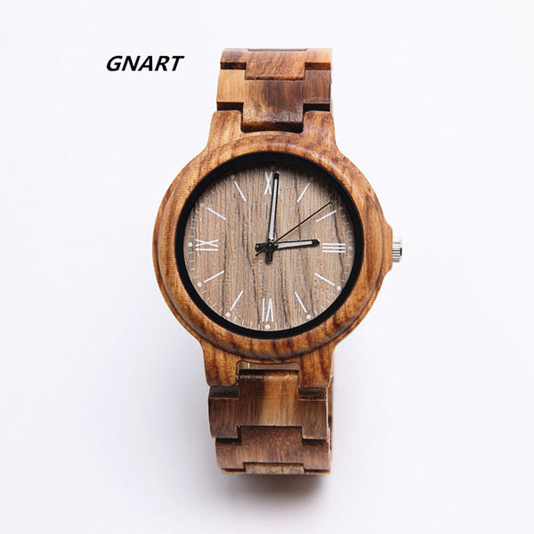 gnart 439 zebra wood dress wrist watch men quartz men's fashionable handmade wood watch wholesale direct sales, Slivery;brown