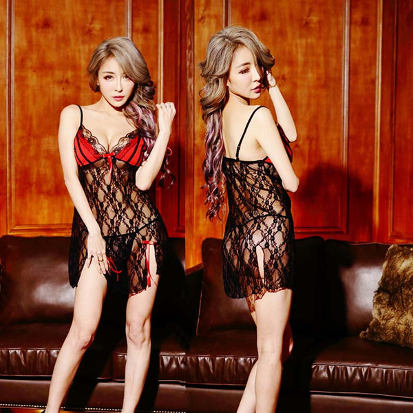 best selling Sexy Women Lace Casual Sleepwear Transparent Nightgown Summe Sleep Dress Lace Home lace Seamless Lingerie Nightdress drop ship
