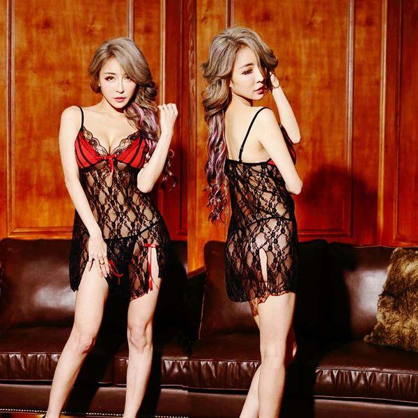 top popular Sexy costumes Women Lace Casual Sleepwear Transparent Nightgown Summe Sleep Dress Seamless Lingerie Nightdress drop ship 2021