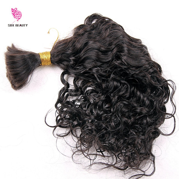 top popular Human Braiding Hair bulk Water Wave Bulk Virgin Brazilian Bulk Braiding Hair Extensions Loose Curly Hair Style Fast Shipping 2019