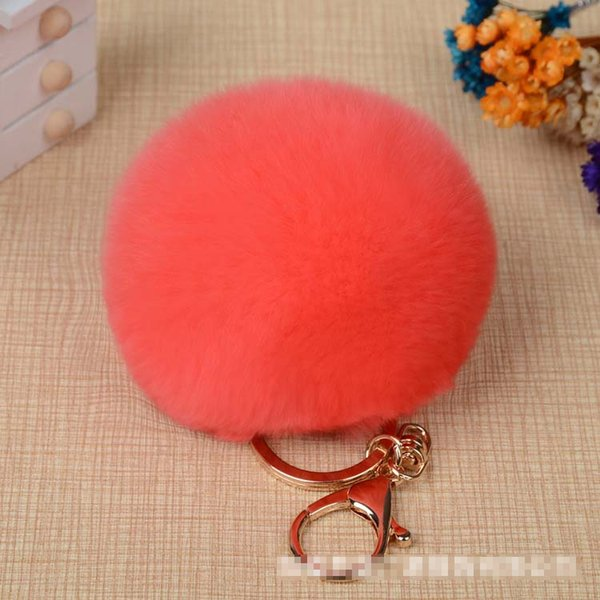 fur key chain Women Fluffy Rex Rabbit Ball Bulb Bag Car Charm Handbag Pendant Trinket Fur Pom Pom Ball Keychains Key Ring