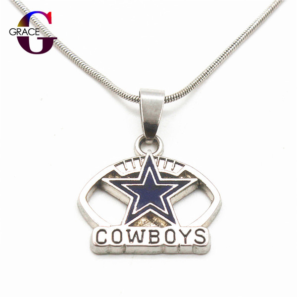 Enamel Football Team Sports Pendant necklace with snake chain(45+5cm) necklace For Women Beauty DIY Jewelry