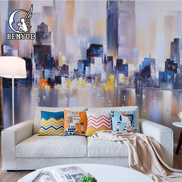 Moderne Ziegel Tapete 3d Santorini Landschaft Wandbild Home Decor Stadtansichten Kunst TV Hintergrund Wandbild Tapete Wanddekoration