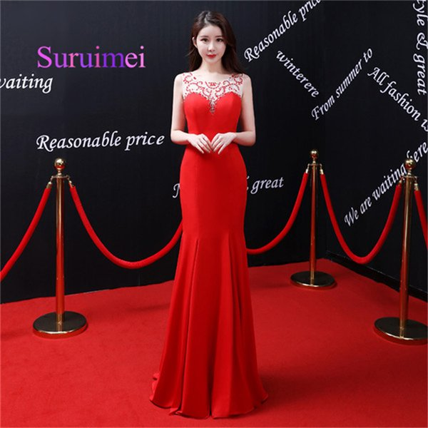Free Shipping 2019 Red Long Mermaid Evening Dresses Scoop Neck With Crystal Sleeveless Prom Gowns For Party Dress