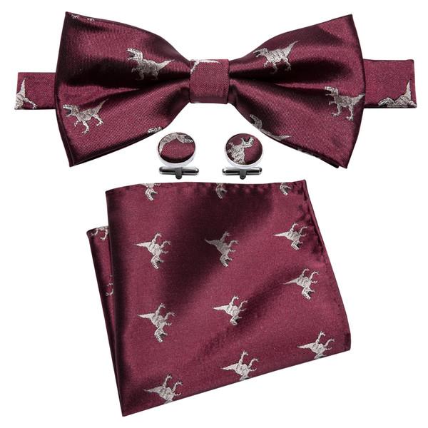 burgundy silk bow tie with white little dinosaur pattern designer handkerchief cufflinks luxury fashion wedding business party lh-834