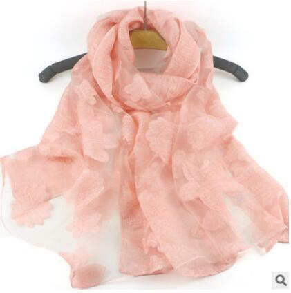 Translucent scarves Stereo cut flower Organza Shawl Thin section Long scarf Air conditioning Sunscreen shawl female