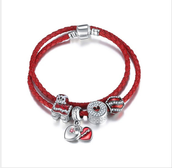 925 Sterling Silver Red Charm Bead fit European Pandora Bracelets for Women Charm Double Layer Genuine Leather Chain Fashion Jewelry