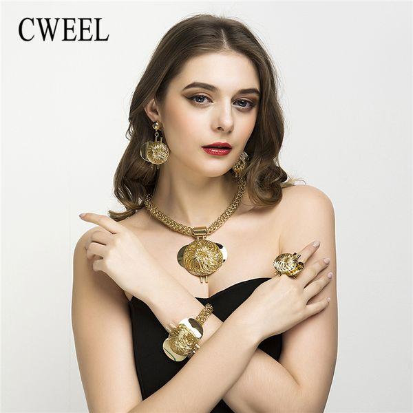 whole saleCWEEL Set di gioielli Moda nuziale Gioielli turchi Vintage Antique Big African Jewellery Gold Color Women Indian Set
