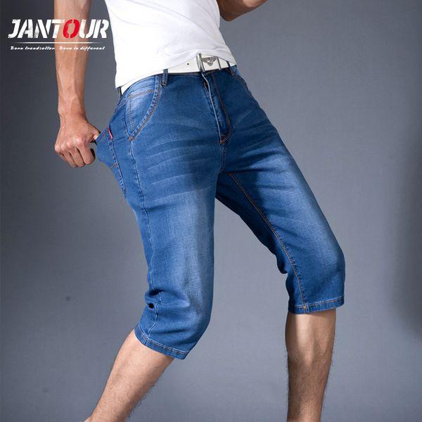 jantour new Mens Summer Stretch Lightweight Blue Denim Jeans Short for Men Jean Shorts Pants Plus Size 32 33 34 35 36 38 40 42