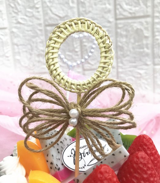 10pcs Woven round hemp rope Idyllic rural Cupcake topper Baby Girl Birthday/Wedding Anniversary Cupcake Topper Cake Decoration