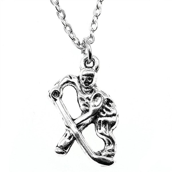 WYSIWYG 5 Pieces Metal Chain Necklaces Pendants Male Necklace Fashion Hockey Players 25x16mm N2-B10366