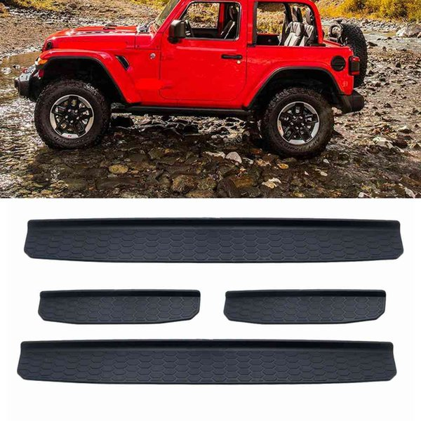 Black 4 Door Plastic Sill Scuff Plate Guards for JEEP WRANGLER 2018 JL 4-Door Automobile Car Parts Accessories for Jeep Wrangler